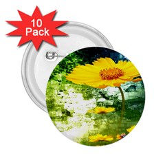 Yellow Flowers 2 25  Buttons (10 Pack)