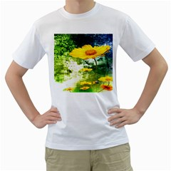 Yellow Flowers Men s T Shirt (white) (two Sided)