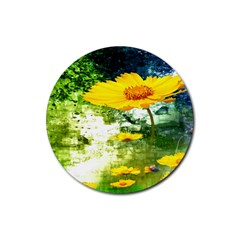 Yellow Flowers Rubber Coaster (Round)