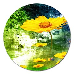 Yellow Flowers Magnet 5  (round)
