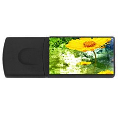 Yellow Flowers USB Flash Drive Rectangular (4 GB)