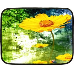 Yellow Flowers Double Sided Fleece Blanket (mini)