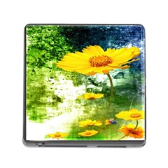 Yellow Flowers Memory Card Reader (Square)
