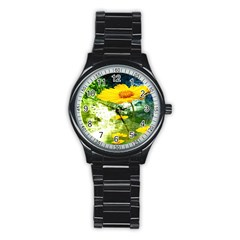 Yellow Flowers Stainless Steel Round Watch