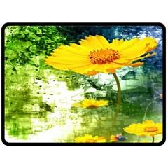 Yellow Flowers Double Sided Fleece Blanket (Large)