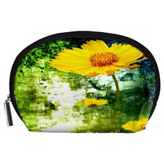 Yellow Flowers Accessory Pouches (large)