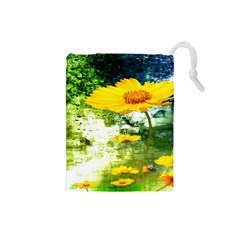 Yellow Flowers Drawstring Pouches (small)