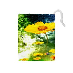 Yellow Flowers Drawstring Pouches (medium)