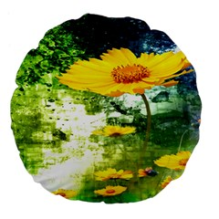 Yellow Flowers Large 18  Premium Flano Round Cushions