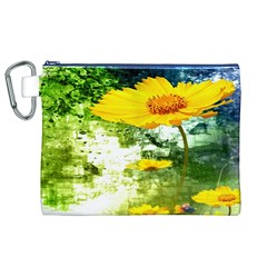 Yellow Flowers Canvas Cosmetic Bag (xl)