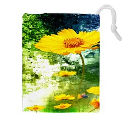 Yellow Flowers Drawstring Pouches (XXL)