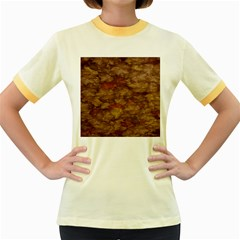 Brown Texture Women s Fitted Ringer T-Shirts