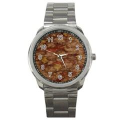 Brown Texture Sport Metal Watch