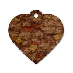 Brown Texture Dog Tag Heart (two Sides)