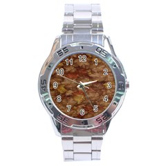 Brown Texture Stainless Steel Analogue Watch