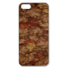 Brown Texture Apple Seamless iPhone 5 Case (Clear)