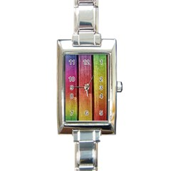 Colourful Wood Painting Rectangle Italian Charm Watch