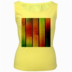 Colourful Wood Painting Women s Yellow Tank Top