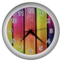 Colourful Wood Painting Wall Clocks (silver)