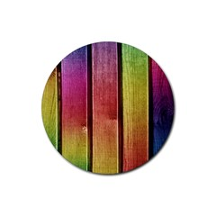 Colourful Wood Painting Rubber Coaster (round)