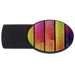 Colourful Wood Painting Usb Flash Drive Oval (4 Gb)