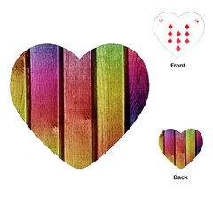 Colourful Wood Painting Playing Cards (heart)