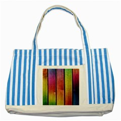 Colourful Wood Painting Striped Blue Tote Bag