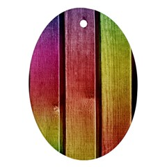 Colourful Wood Painting Oval Ornament (two Sides)