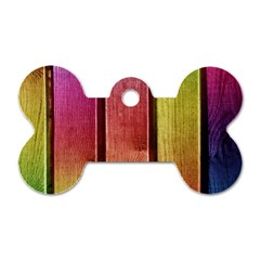Colourful Wood Painting Dog Tag Bone (One Side)