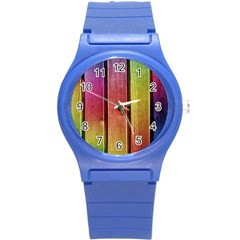 Colourful Wood Painting Round Plastic Sport Watch (S)