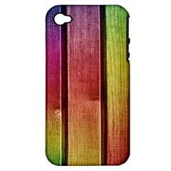 Colourful Wood Painting Apple Iphone 4/4s Hardshell Case (pc+silicone)