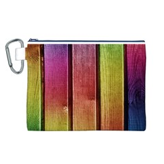 Colourful Wood Painting Canvas Cosmetic Bag (l)