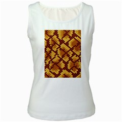 Snake Skin Pattern Vector Women s White Tank Top