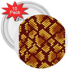 Snake Skin Pattern Vector 3  Buttons (10 pack)
