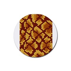 Snake Skin Pattern Vector Rubber Coaster (round)