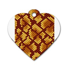 Snake Skin Pattern Vector Dog Tag Heart (One Side)
