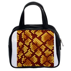 Snake Skin Pattern Vector Classic Handbags (2 Sides)