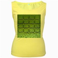 Water Drop Women s Yellow Tank Top