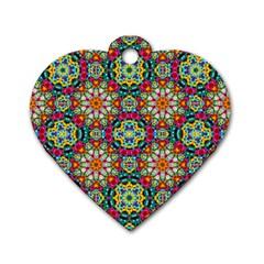 Jewel Tiles Kaleidoscope Dog Tag Heart (One Side)
