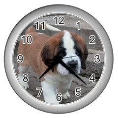 St Bernard Pup Wall Clocks (Silver)