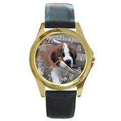 St Bernard Pup Round Gold Metal Watch