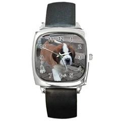 St Bernard Pup Square Metal Watch