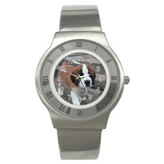 St Bernard Pup Stainless Steel Watch