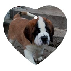 St Bernard Pup Heart Ornament (Two Sides)