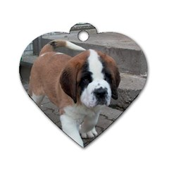 St Bernard Pup Dog Tag Heart (One Side)