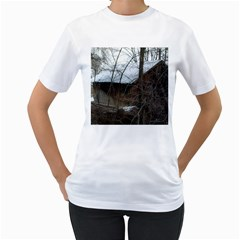 Abondoned House Women s T-Shirt (White) (Two Sided)
