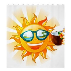 Cartoon Sun Shower Curtain 66  x 72  (Large)