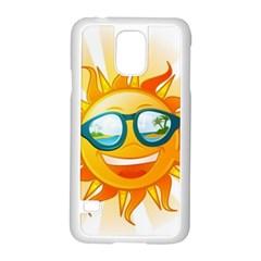 Cartoon Sun Samsung Galaxy S5 Case (White)