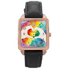 Pride Love Rose Gold Leather Watch