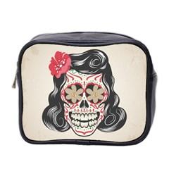 Woman Sugar Skull Mini Toiletries Bag 2 Side
